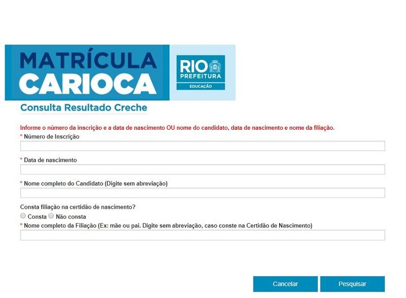 Resultado da Matrícula Rio 2021